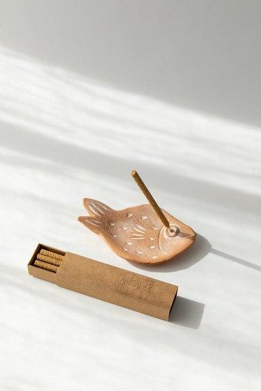 Mini Terracotta Fish Incense Gift Set, $36.00