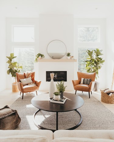 minimalist living room without window coverings
