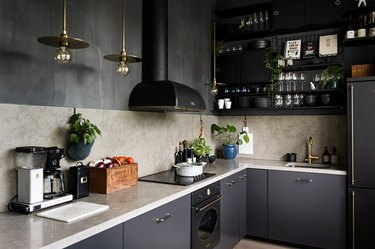 black cabinets with black appliances