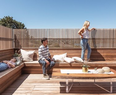 Deck with built-in benches