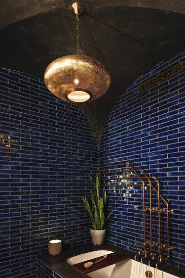 bohemian bathroom backsplash blue subway tiles