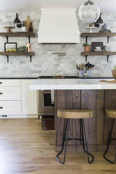 Craftsman kitchen with modern light fixture