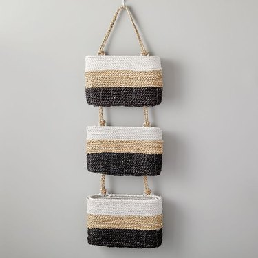 Tricolor woven hanging baskets