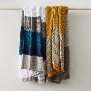 Striped knit blankets