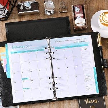Open planner on desk