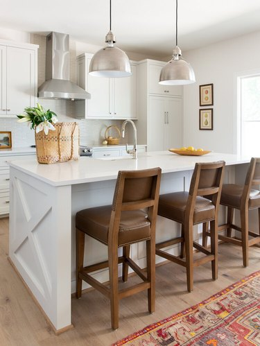 Modern craftsman kitchen with industrial light fixtures