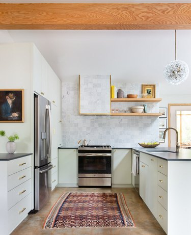 Craftsman kitchen with mint cabinets