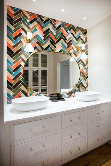 bohemian bathroom backsplash multicolor herringbone tile