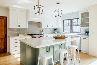 Modern craftsman kitchen with green island
