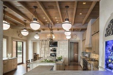 Craftsman kitchen with wood beams