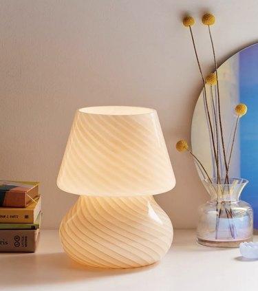 Light colored glass mushroom lamp