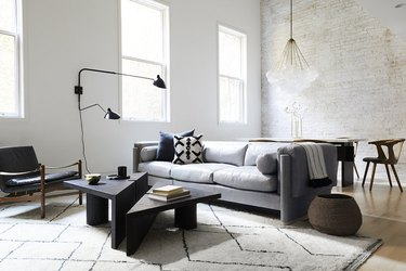 minimalist living room with patterned rug