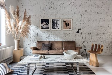 minimalist living room with bohemian flair
