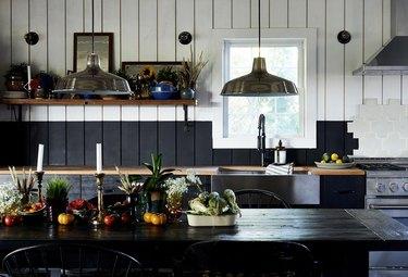 black and white backsplash in farmhouse kitchen