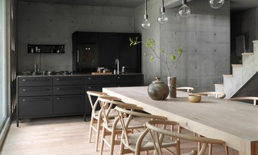 industrial kitchen with black cabines