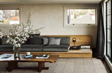minimalist living room with platform sofa