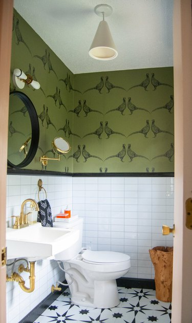 bohemian bathroom backsplash white subway tile wall with black trim