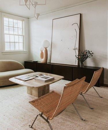 minimalist living room with large artwork