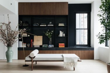 minimalist living room with daybed and accessories displayed on shelving unit