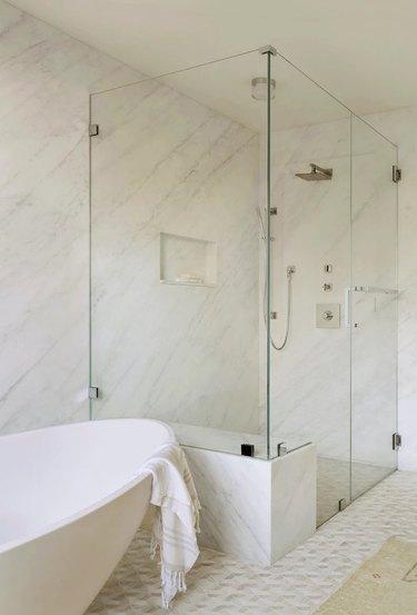 Flush mount bathroom lighting in the shower
