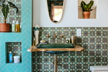 teal greeen and blue bohemian bathroom backsplash