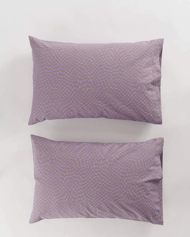 two pillows in lavender color