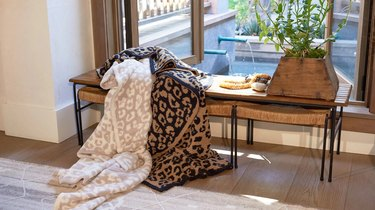 Blankets on a bench