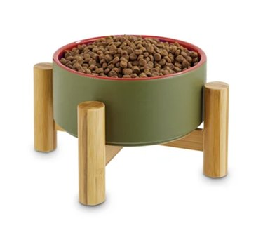 Green and red elevated pet bowl