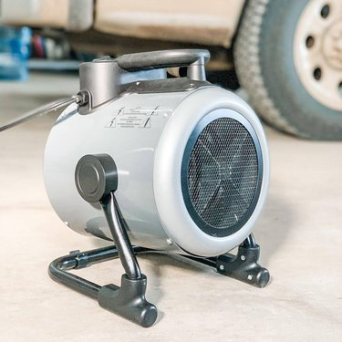 A small space heater in the garage