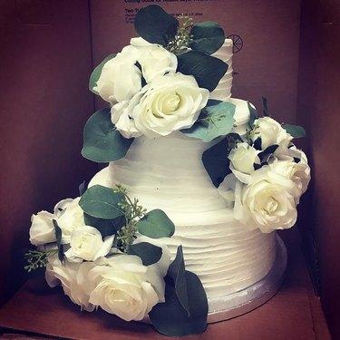 sam's club wedding cake with flowers