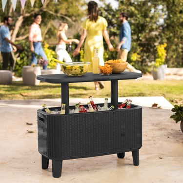 beverage cooler and bar table