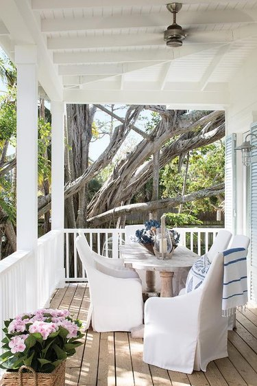 outdoor dining table on porch