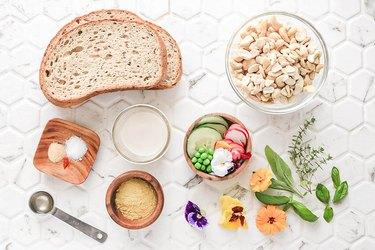 Ingredients for vegan ricotta toast
