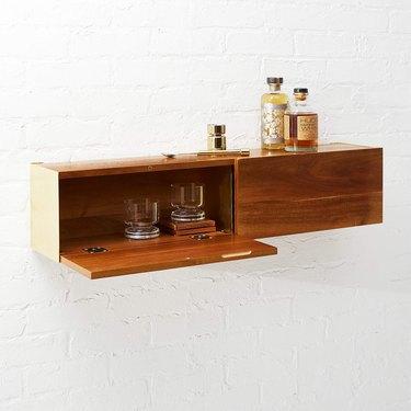 Wooden storage cabinet-shelf