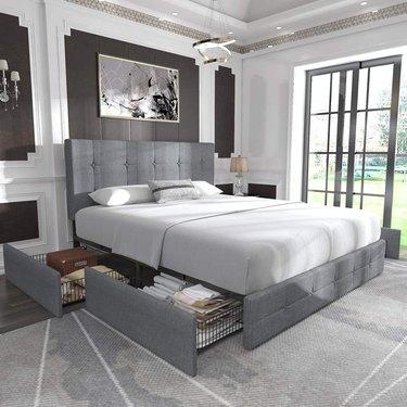 Allewie Platform Bed Frame with Underbed Storage and Headboard