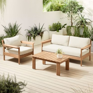 West Elm Playa Outdoor Sofa, Lounge Chair, and Coffee Table Set