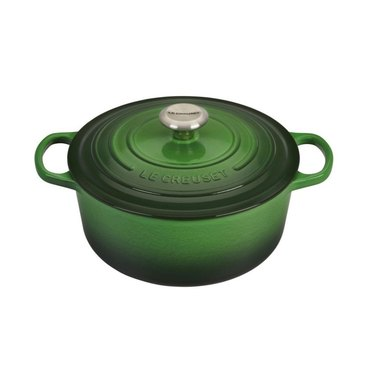 le creuset factory to table sale 4.5QT Round Dutch Oven in Emerald