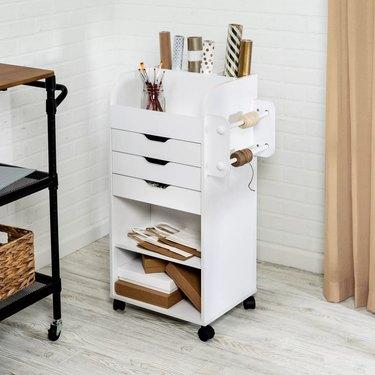 white craft storage cart