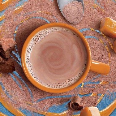 swiss miss salted caramel cocoa in orange mug