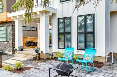 farmhouse porch with turquoise seating