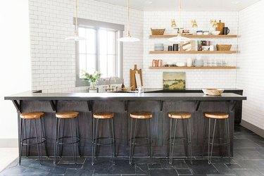 black and white kitchen with subway tile backsplash