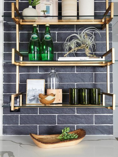 textured navy blue subway tile with shelving