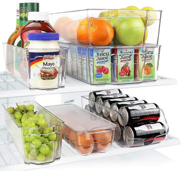 Greenco Fridge Bins, Stackable Storage Organizer Containers with Handles