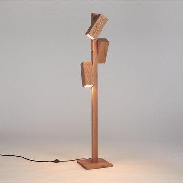 wood floor lamp with three lights