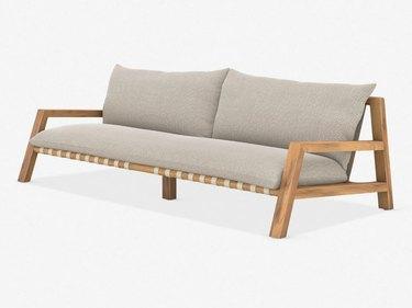 Sleek outdoor sofa with cushions