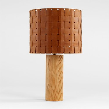wood lamp with leather shade