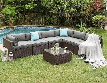 Wicker furniture set in backyard