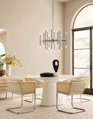 all-beige dining room