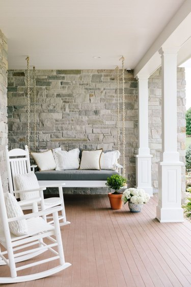 porch with stone walls