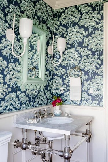 navy blue and mint wallpaper in powder room
